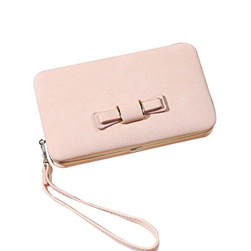 WTUS Mujer Carteras Nueva Del Moño De Moda Femenina Del Bolso Cartera Bolso De Mujer rosa2