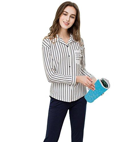 set da lunga abbigliamento pigiami manica da pigiama indumenti Navy camicia da notte notte notte set Blue QianXiu cotone donne di AFw4BFx