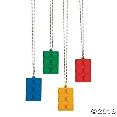 Fun Express Brick Building Block Party Necklaces - 24 Count by Fun Express