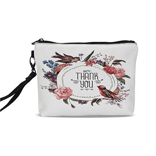 Vintage Simple Cosmetic Bag,French Botanical Nature Exotic Birds And Flowers Circle Watercolor Painting Effect for Women,9