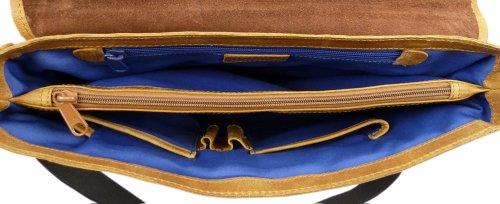 Maestro Praktische und hochwertige Businesstasche Aktentasche aus Leder. Vintagelook Cognac.