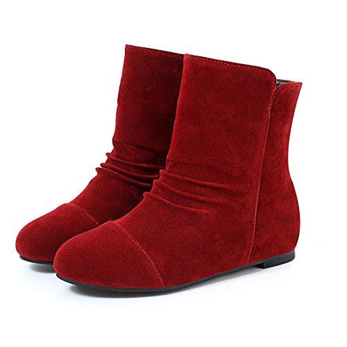 YE Damen Flache Ankle Boots Stiefeletten mit Erhöhte Absatz Elegant Keilabsatz Schuhe Rot