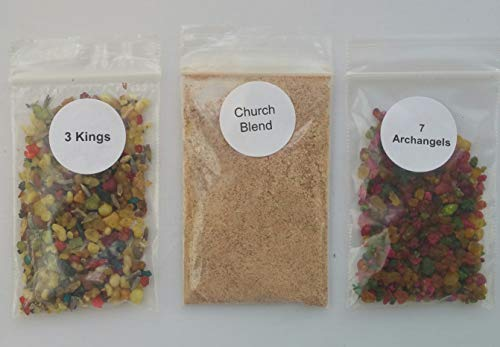 (The Better Scents Resin Incense Blend Variety Sampler Pack, 1/4 oz Packs of Our Blends, which Includes 3 Kings, 7 archangels, and Church Blends)