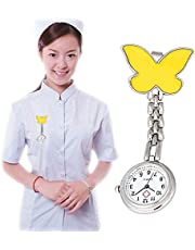JZV AYSMG Butterfly Style Portable Alloy Nurse Round Quartz Wristwatch Watch with Pin(Yellow)