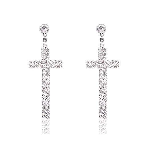 Eleganze Long Dangle Earrings Silver Plated Fashion Bridal Wedding White Crystal RhinestoneEarring Cross Earrings -