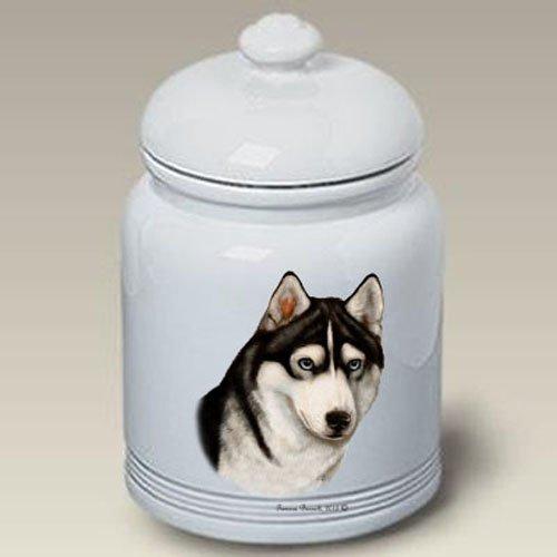Siberian Husky (Black and White): Ceramic Treat Jar 10