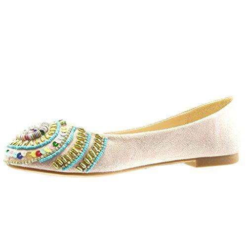 Shoes Shoes Jewelry Slip Pearl Block on Women's Ballet Pink 1 cm Fashion Heel Angkorly Flat qaUX4Z