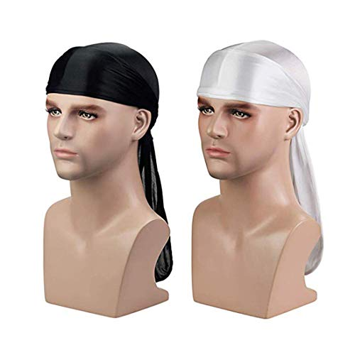 - Silky Durag (2PCS/3PCS) with Extra long tail and wide straps headwrap Du-Rag for 360 Waves (Black+White)