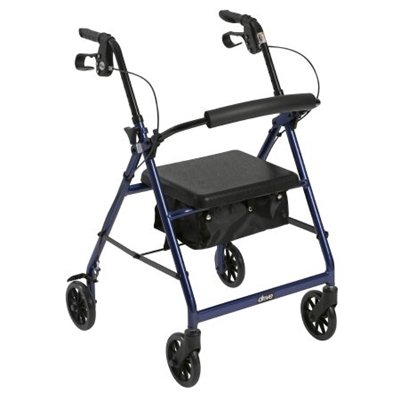 4 Wheel Rollator, Lightweight Folding Blue Aluminum Frame, 6'' Caster Wheels, Adjustable 32'' to 37'' by McKesson (Image #1)