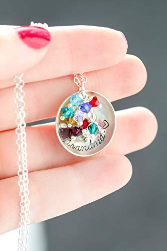 - Personalized Grandma Necklace - DII ABC - Handstamped Handmade Jewelry - 1 Inch 25.4MM Disc - Choose Birthstone Colors - Custom Nameplate - Fast 1 Day Production
