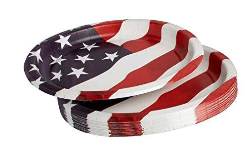 Americana American Flag Oval Paper Plates 12-Inch x 10-Inch, 20 - Plate Americana