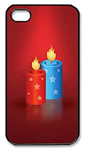 iPhone 4 4s Case, iPhone 4 4s Cases Festive candles Custom Design PC Hard Plastics Case Cover Protector for iPhone 4 4s Black