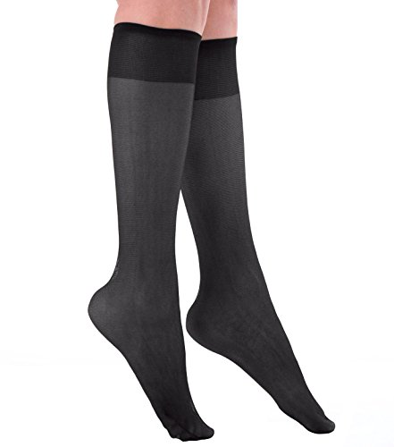 Grandeur Hosiery Women's Ladies Plus Size Queen Sheer Support Knee High Stockings 3-Pack Black 3X