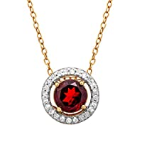 Deals on Finecraft 7/8 CT Garnet & 1/6 CT Topaz Pendant Sterling Silver