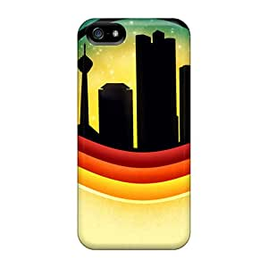 Iphone 5/5s Hard Back With Bumper Silicone Gel Tpu Case Cover Retro City