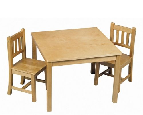 Guidecraft Mission Table and Chairs Set - Mission Oak Oak Game Table