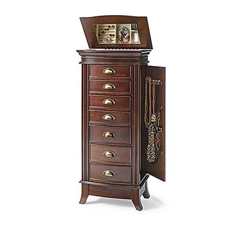 Hives & Honey Hillary Dark Walnut 7-Drawer Wood Mirrored Jewelry Armoire (Walnut Hillary)