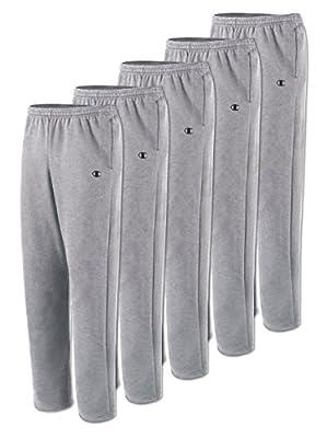 Champion P2469 Men's Open Bottom Fleece Sweatpant - Oxford Gray 5 Pack - Large
