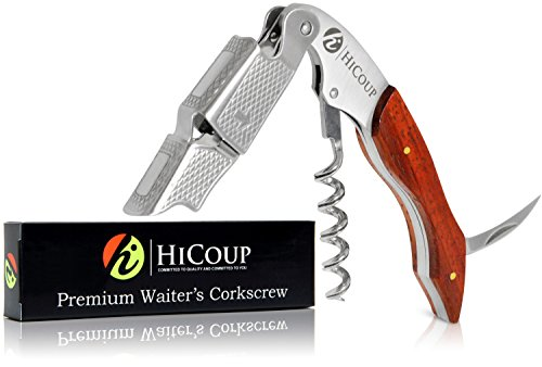 Red Corkscrew - Professional Waiter's Corkscrew by HiCoup - Red Pear Wood Handle All-in-one Corkscrew, Bottle Opener and Foil Cutter, The Favored Choice of Sommeliers, Waiters and Bartenders Around The World