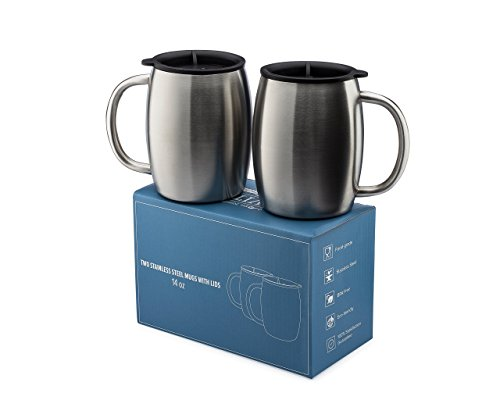 Stainless Steel Coffee Mugs with Lids - 14 Oz Double Walled Insulated Coffee Beer Mugs - Set of 2 by Avito - Best Value - BPA Free Healthy Choice - (Stainless Steel Insulated Coffee Mugs)