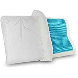 Gel Memory Foam Pillow - Comfortable Cooling Pillow Neck Pain - Cervical Support Pillow Back Stomach Side Sleepers - Orthopedic Sleeping Pillow Women Kids + Free Bamboo Hypoallergenic Cover 20X12