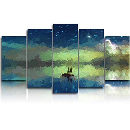 EZON-CH Large Canvas Prints Wall Art,Sailing Boat at Night Sky with Stars and Crescent Moon Pictures Paintings for Living Room Bedroom Home Decorations 5 Piece Stretched and Framed Ready to Hang (Flag With Crescent Moon And 5 Stars)