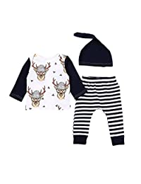 AmyDong 3PCS Toddler Baby Girls Boys Animal Print Tops Striped Pants Outfits Set