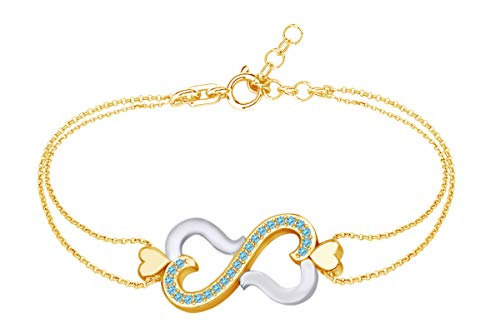 AFFY Round Shape Simulated Blue Topaz Two Tone Infinity Heart Link Chain Bracelets in 14k Yellow Gold Over Sterling Silver -8.5