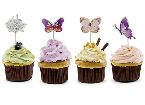 Lolipapa Purple Butterfly Flower Cake Cupcake Toppers Picks (Pack of 24pcs)