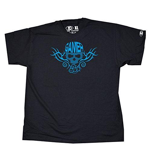 Nicram Designs - Camiseta - Cuello Redondo - para hombre BLACK + Blue Logo