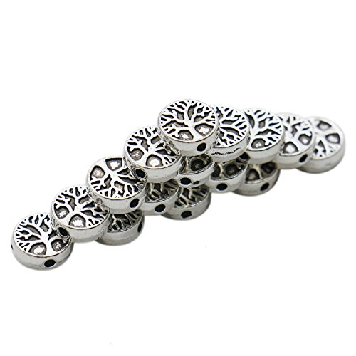 HUELE 50 Pcs Antiqued Silver Tree of Life Family Spacer Beads Charm Round DIY Jewelry Making 9mm