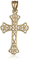 14k Yellow Gold Mini Lacy Cross Charm