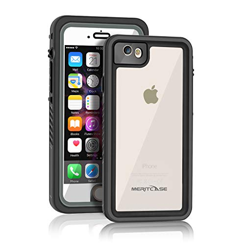 Waterproof Case Compatible with iPhone 6/6s, Meritcase Shield Series IP68 Full Body Dropproof Snowproof Dirtproof Sandproof Cover with Screen Protector Applicable to iPhone 6/6s (4.7 inch,Black)