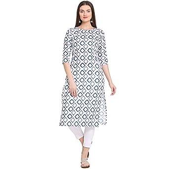 ANNI DESIGNER Women's White Cotton Straight Calf Length Block Printed Kurti