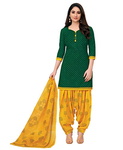 Miraan Women Cotton Unstitched Dress Material (SGPRI723, Green, Free Size)