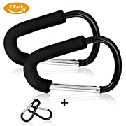 Stroller Pram Buggy Hooks, Homga 2 PACK X-Large Multipurpose Stroller Hook Set Hanger Organizer Accessories For Hanging Diaper & Shopping Bags & Purses, Fits Any Baby Stroller Travel Systems