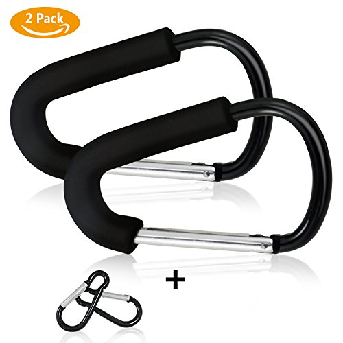 Buggy Sun Protection - Homga Stroller Pram Buggy Hooks, 2 PACK X-Large Multipurpose Stroller Hook Set Hanger Organizer Accessories For Hanging Diaper & Shopping Bags & Purses, Fits Any Baby Stroller Travel Systems