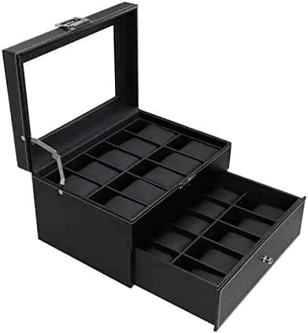 BASTUO 20 Watch Box Watch Display Organizer Carbon Fiber Leather watch Storage Case,Black with Glass Top