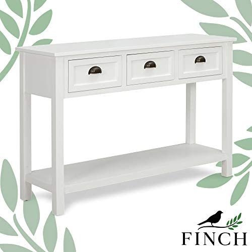 Finch Lockwood Modern Farmhouse 2-Tier Wood Console, Long Sofa Table with Storage Shelf and 3 Drawers, Entryway, white