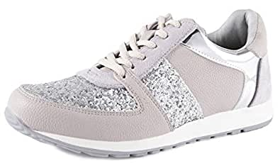 Feversole Women's Glitter Sneakers Fashion Bling Casual Shoes Grey 6 M US