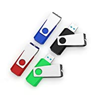 JUANW 5PCS USB Flash Drive Memory Stick Storage Thumb Stick Pen (Five Mixed Colors: Blue Purple Pink Green Orange)