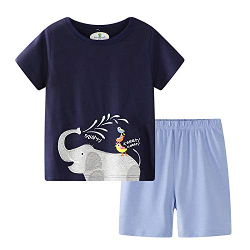 - BIBNice Toddler Boys Summer Clothes Short Sleeve Tee&Shorts Sets Cotton Elephant 7t Navy-Blue