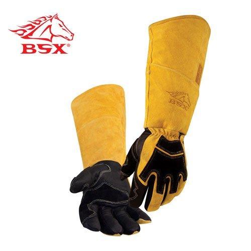 (REVCO BSX Premium Pigskin/Cowhide Back Long Cuff Stick Welding Gloves BS99 -XL)