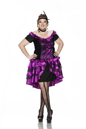 Delicious Dance Hall Queen Costume, Magenta/Black, 2X (Wild West Saloon Girl Costume)