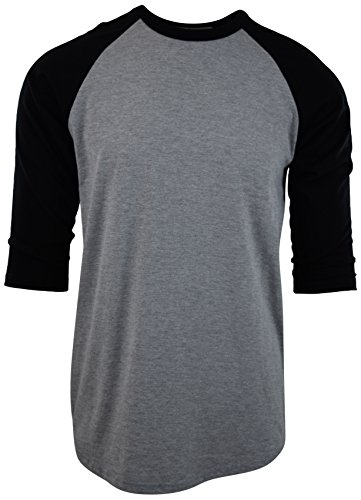 Raglan Tone T-shirt (ChoiceApparel Mens Raglan 3/4 Sleeve Baseball T Shirts (S, Grey/Black))