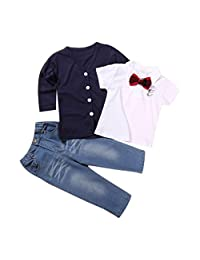 Baby Boys Clothes, Tenworld T-shirt Tops+Pants+Coat 3PCS Outfits Set