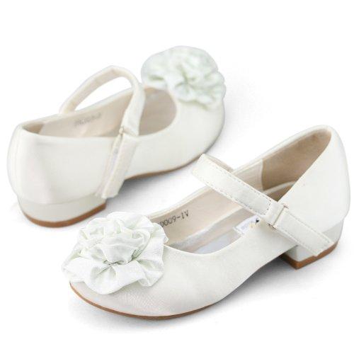 SHOEZY KIDS Girls Flower Wedding Ankle Strap Low Heels Pump Shoes