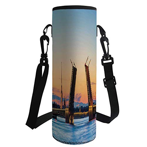iPrint Water Bottle Sleeve Neoprene Bottle Cover,Landscape,Palace Bridge with Peter and Paul Fortress St Petersburg White Nights Russia,Orange Blue,Fit for Most of Water Bottles by iPrint