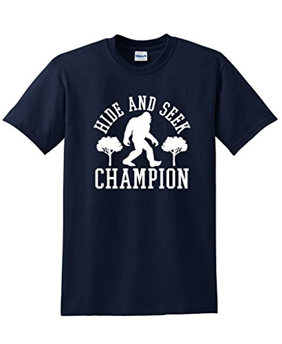 Bigfoot Hide And Seek Champion Sarcastic Novelty Sarcastic Humor Funny T Shirt 4XL Navy