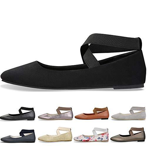 Women's Classic Round Toe Ballerina Walking Slip On Suede Flats - Comfortable Closed Toe Ballet (10-10.5 B(M) US/ CN42/ 10.2'', Matte Black) for $<!--$19.99-->